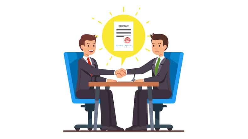 Grafik zwei Menschen am Tisch